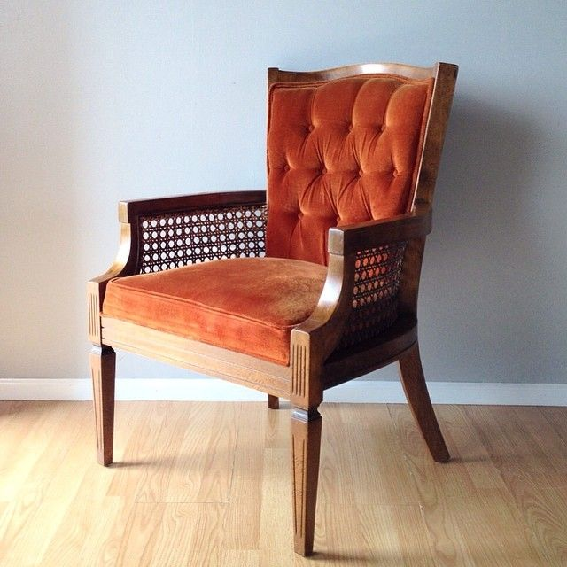 Vintage Hollywood Regency Style Chair With Cane Sides And Tufted Back In Burnt Orange Red