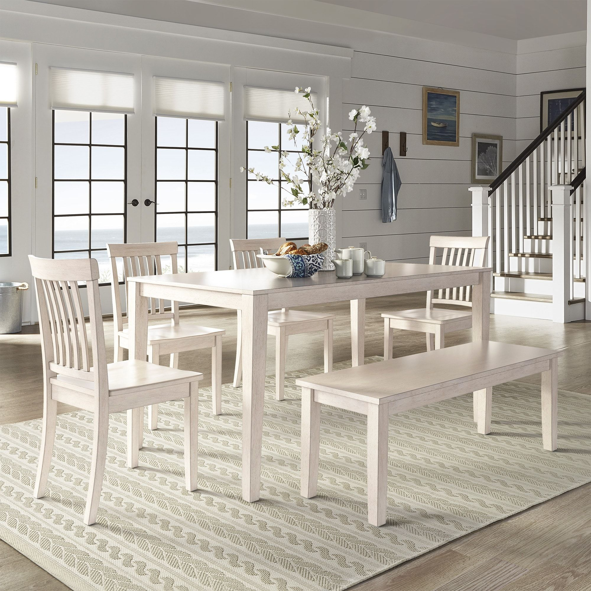Wilmington Ii 60Inch Rectangular Antique White Dining Set Simple Off White Dining Room Furniture Design Inspiration