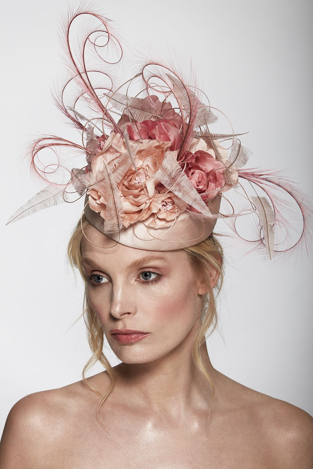 A Pale Pink Wedding Hat Dupion Silk Pillbox With Hand Tooled Flowers In Light And Dusty Pinks Sculptured Ostrich Pheasant Feathers