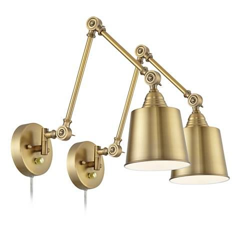 Mendes antique brass down light plug in wall lamp set of 2 by a dimmer switch on the round backplate allows you to easily adjust the light on each of these antique brass swing arm wall lamps aloadofball Image collections