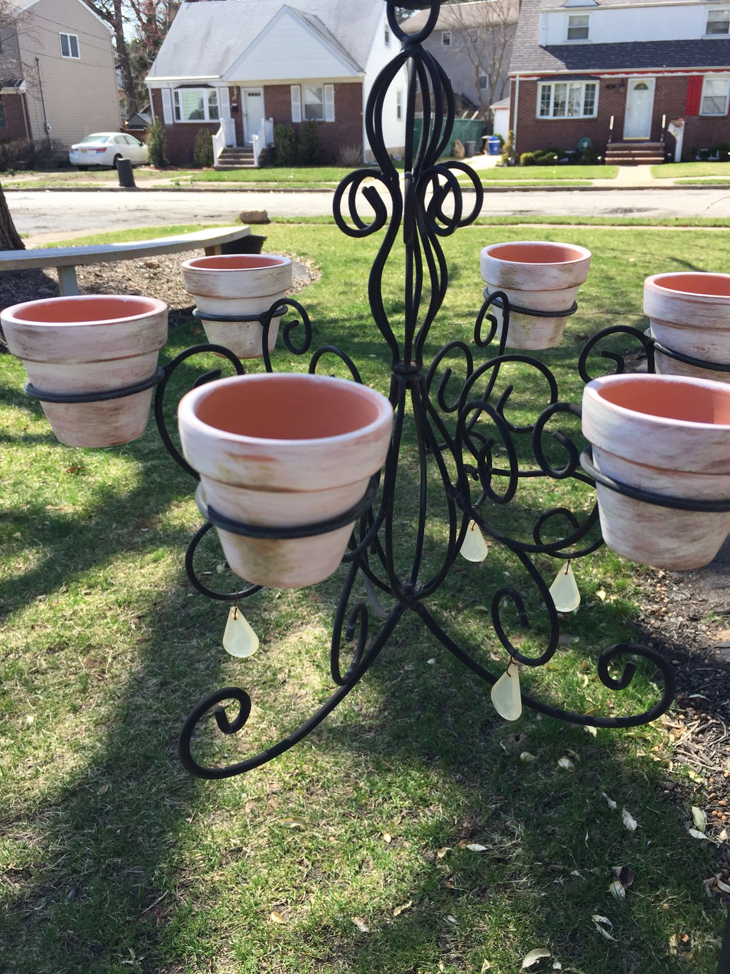 A Candle Chandelier Turned Into A Flower Pot Holder Flower Pot Holder Flower Pots Candle Chandelier