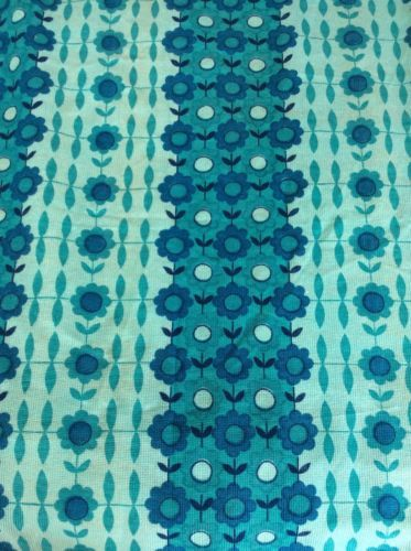 Pair Vintage Retro Turquoise Blue Scandi Flower Curtains Fabric