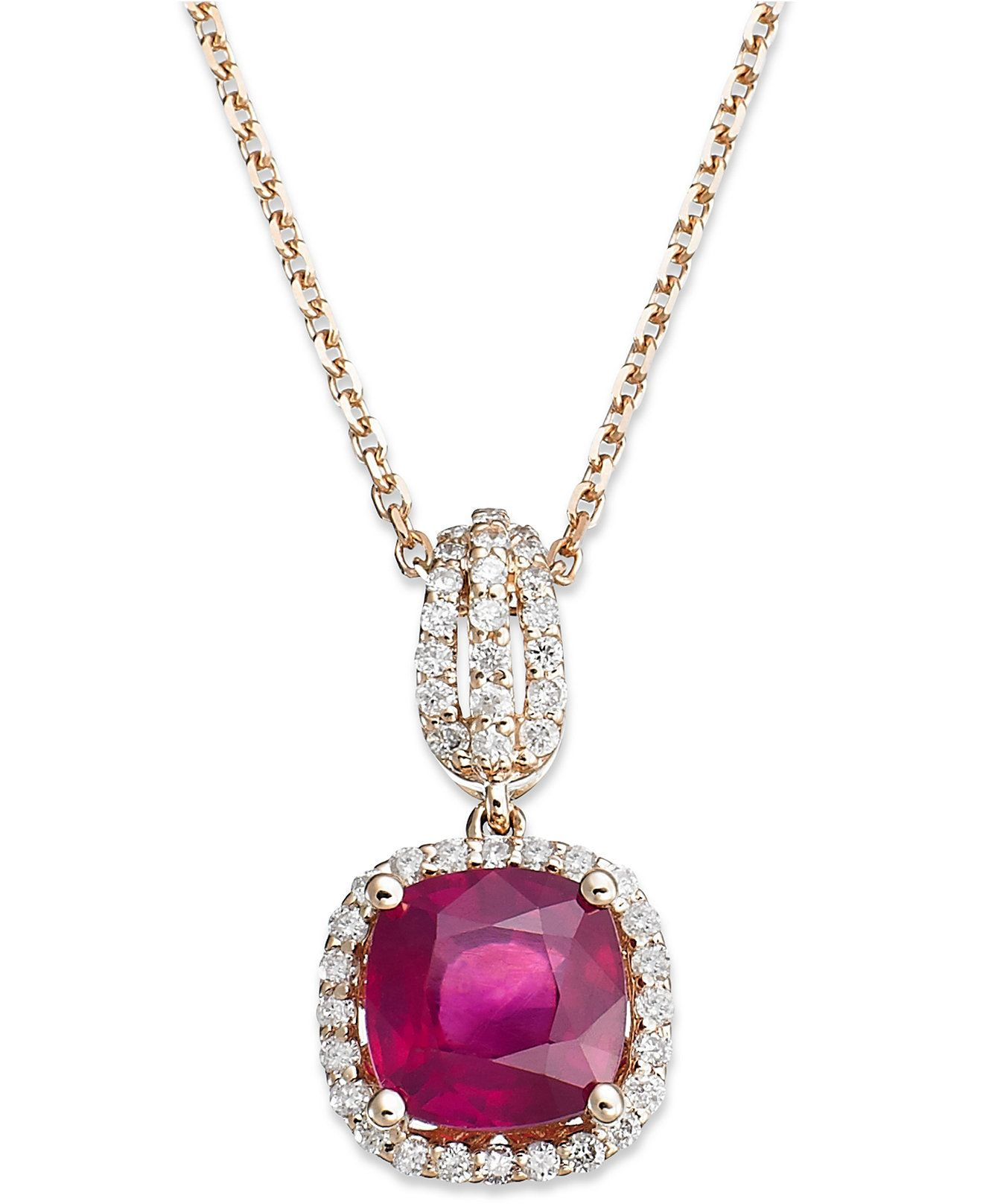 K rose gold necklace ruby ct tw and diamond ct