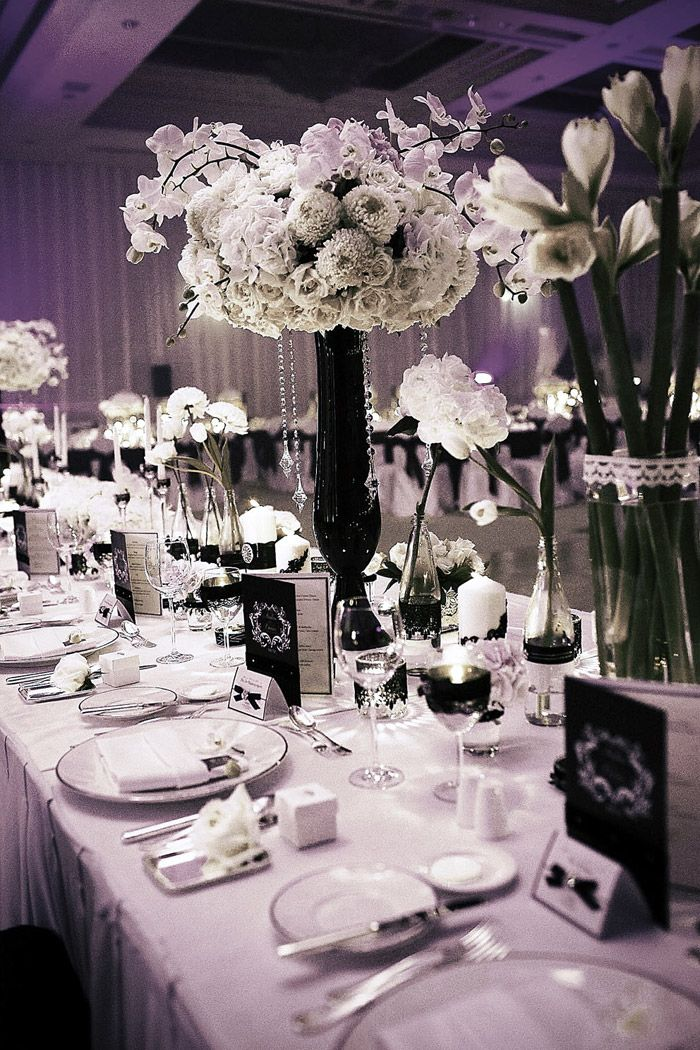 A Sophisticated Black And White Wedding Wedding Centerpieces