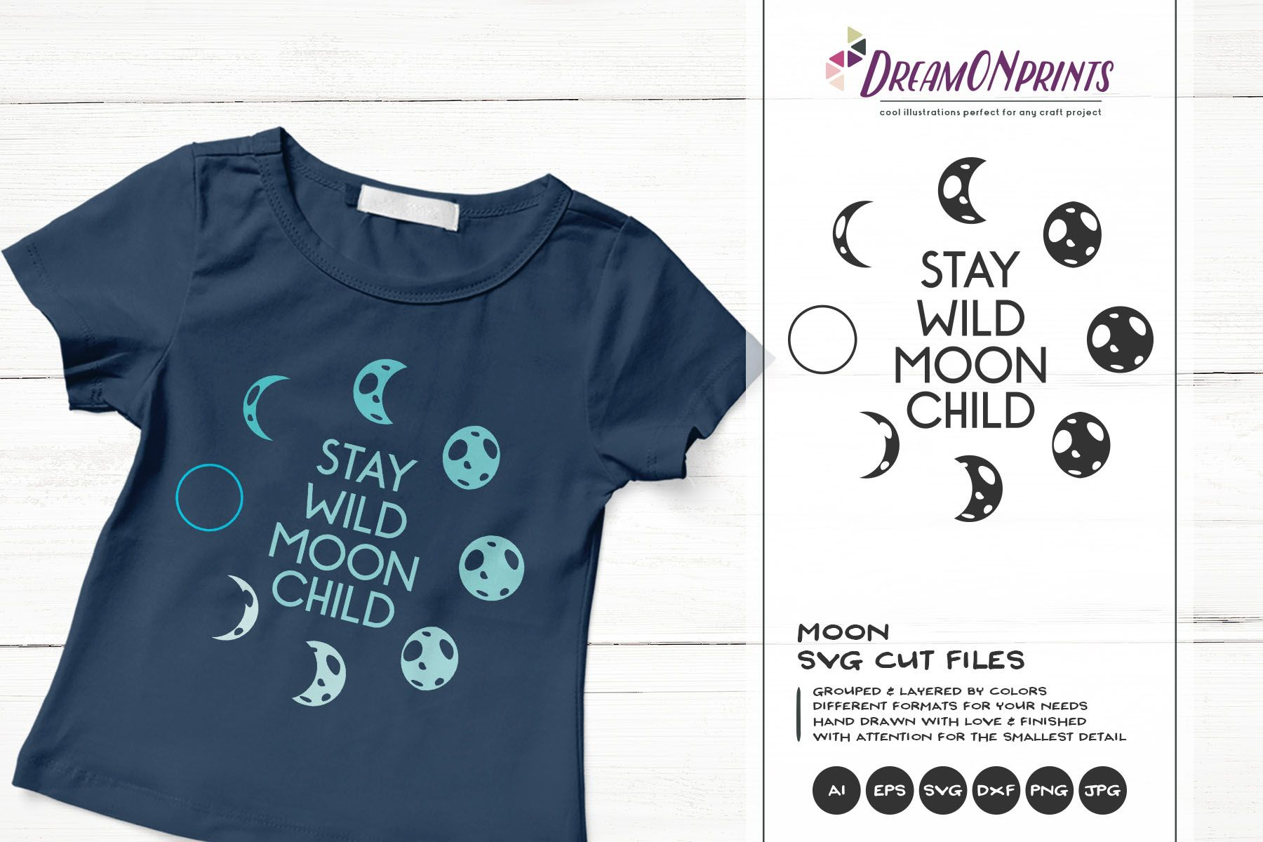 Moon Phases SVG Full Moon SVG, Crescent Moon Moon
