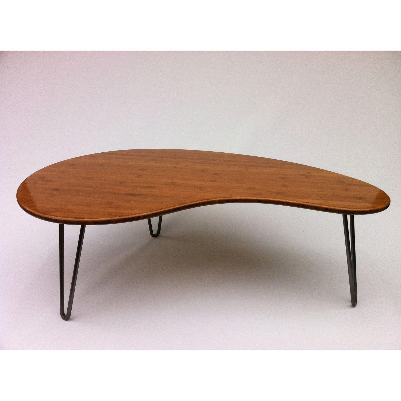 Modern Bamboo Coffee Table: Mid Century Modern Coffee Table Kidney Bean Shaped Atomic
