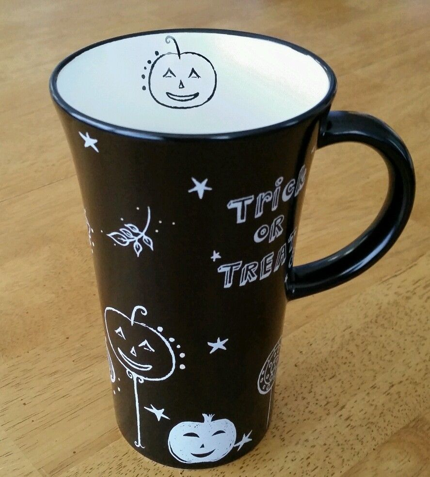 starbucks 2007 halloween trick or treat pumpkin black w white mug