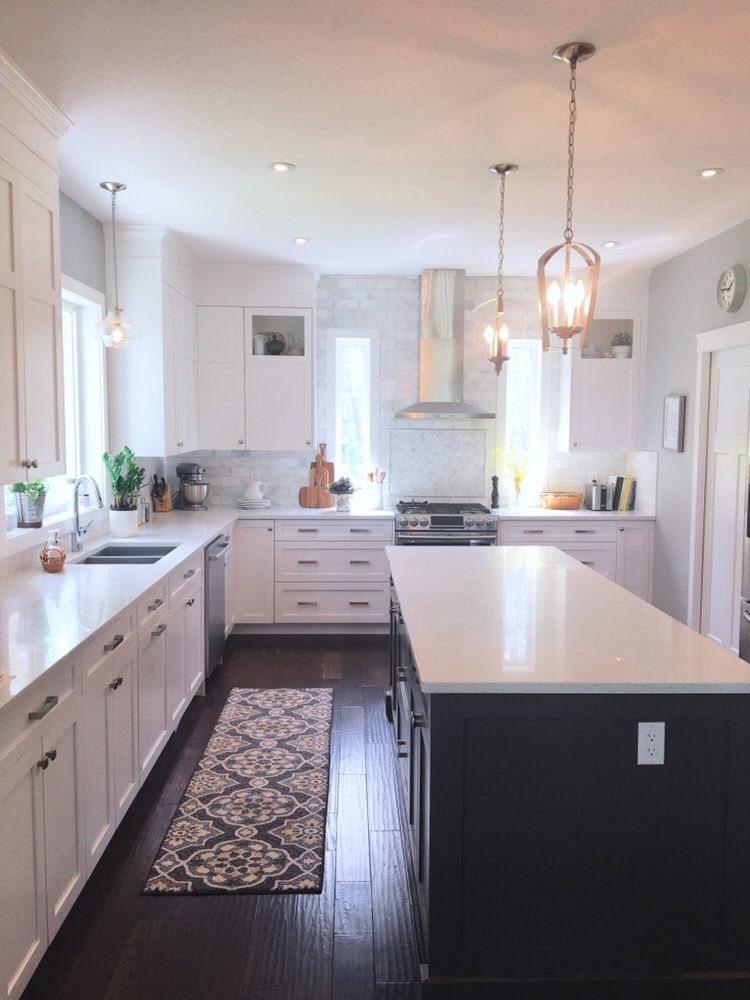 farmhouse style white kitchen with grey island farmhousekitchen whiteki white shaker on kitchen cabinets grey and white id=85563