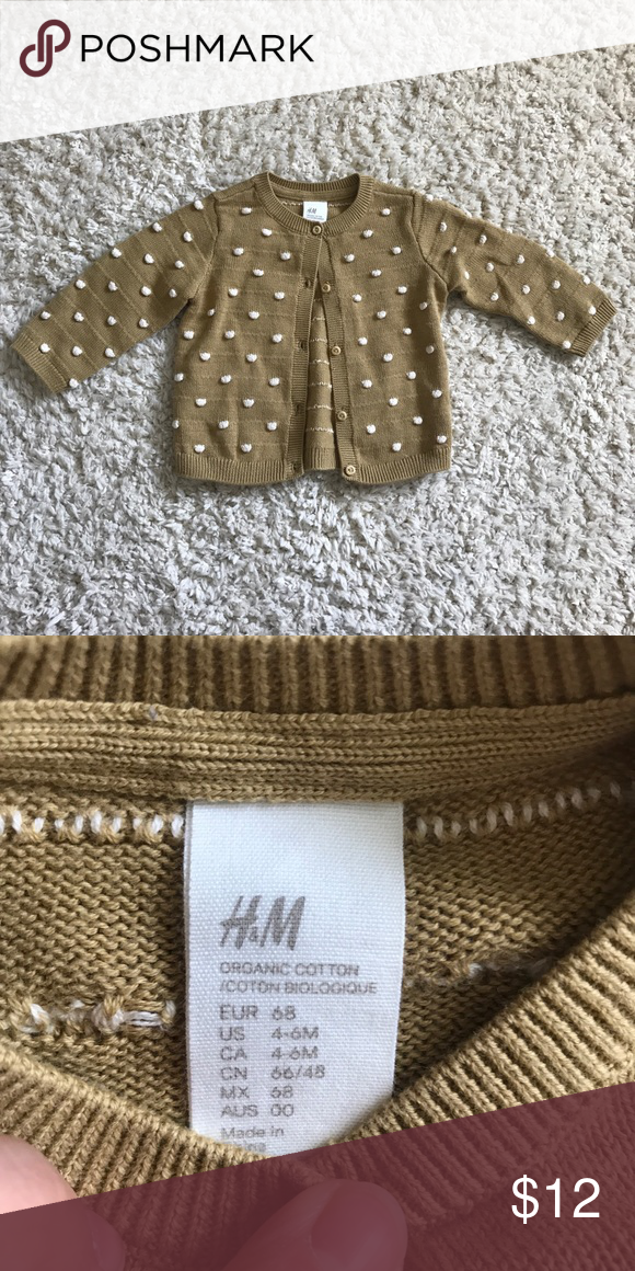 H M dot cardigan So cute and lightweight. Mustard color with cream 3D polka  dots. H M Shirts   Tops Sweaters 32339b5aa