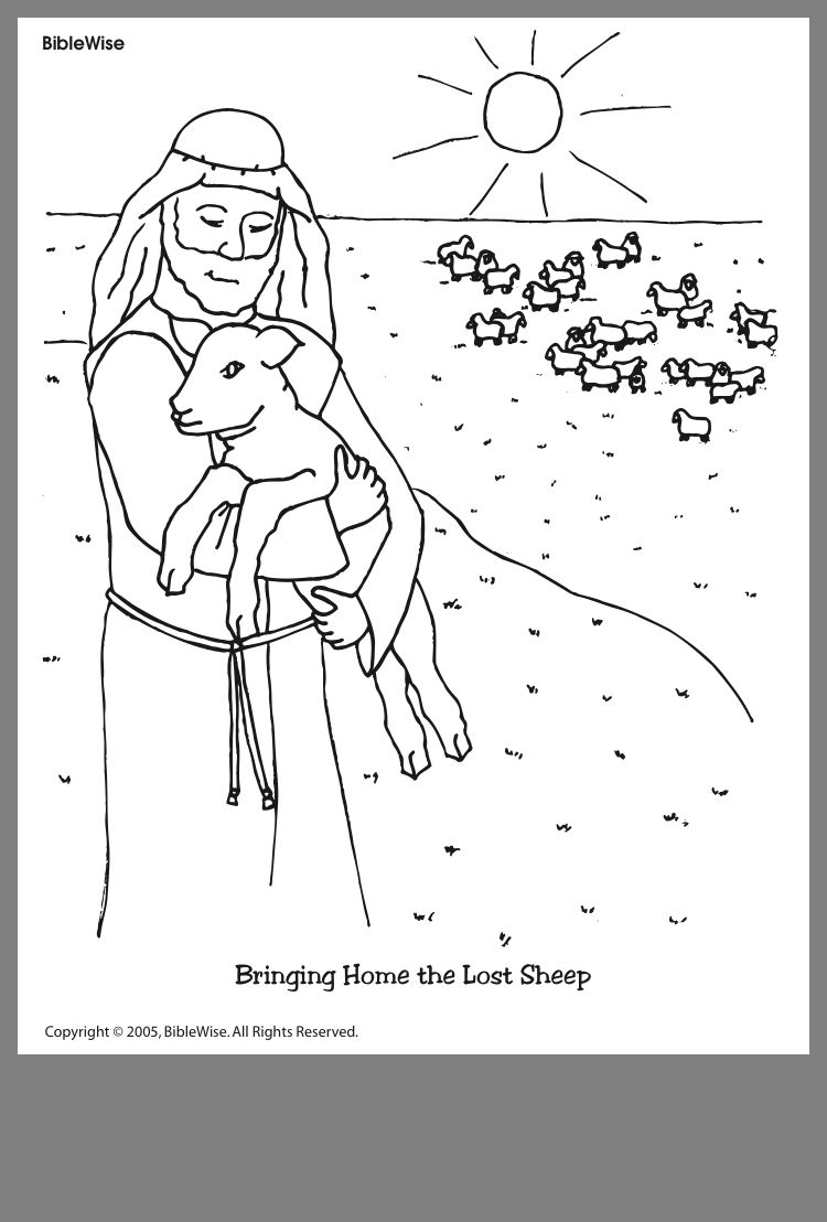 The Good Shepherd The Lost Sheep Sunday School Coloring Pages