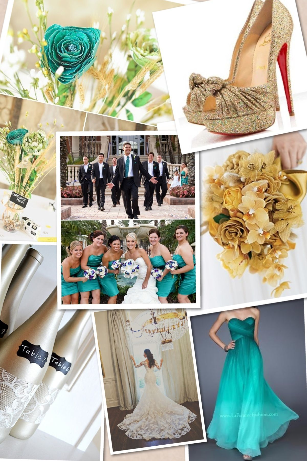 teal and gold wedding theme Wedding themes summer, Gold