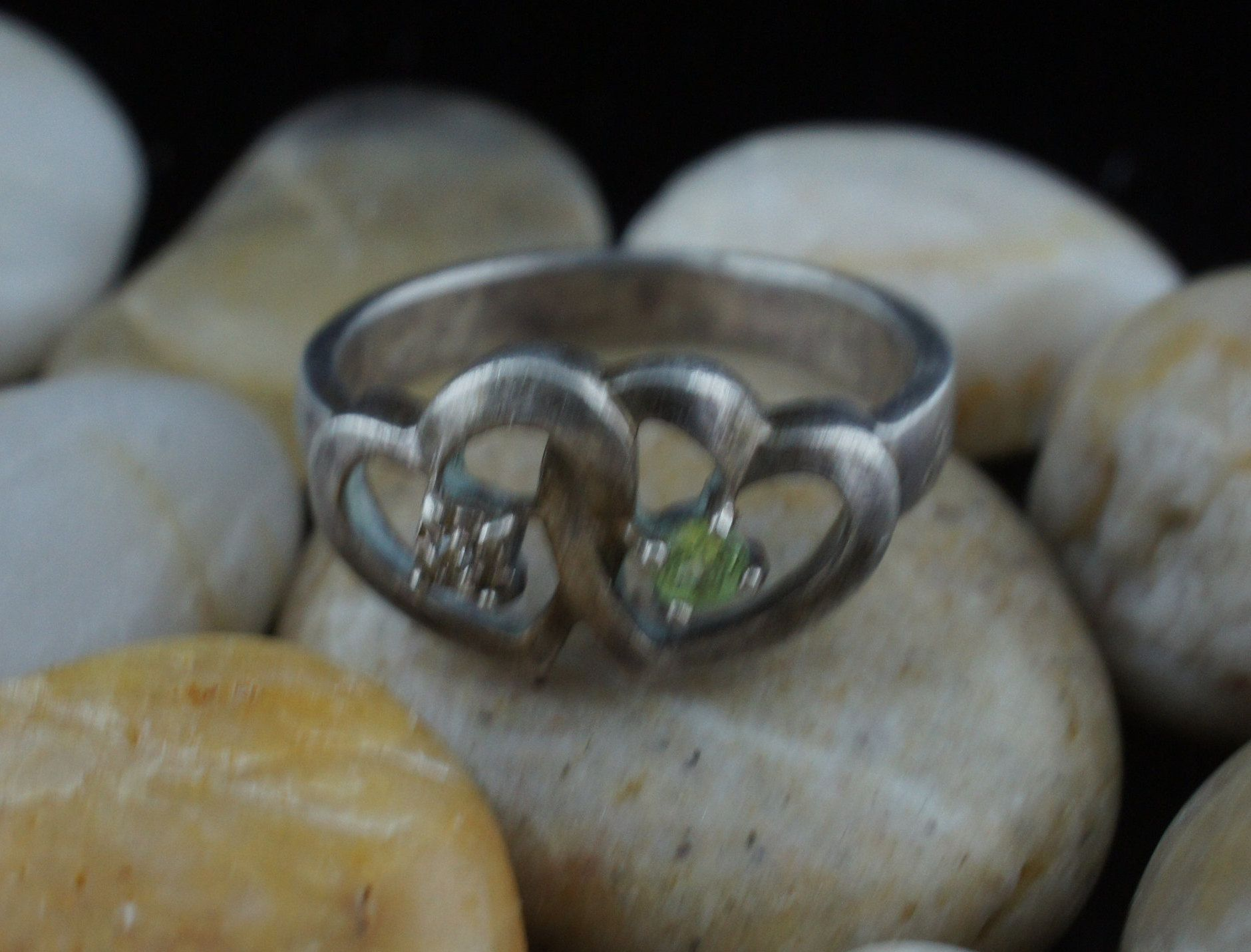 Vintage 925 Sterling Silver Lenox Ring Size 9 Double Heart
