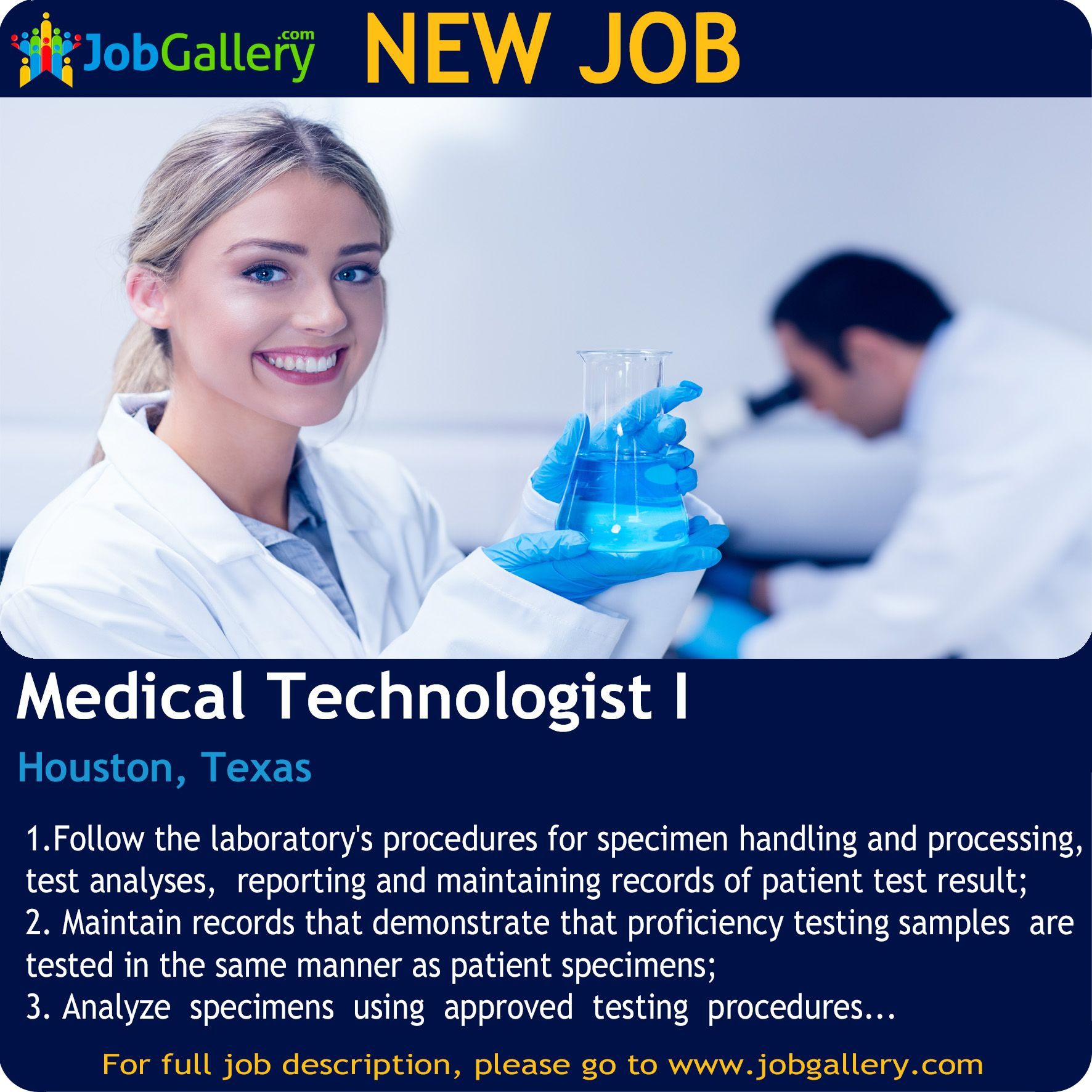 SEEKING A MEDICAL TECHNOLOGIST I IN HOUSTON, TEXAS Job