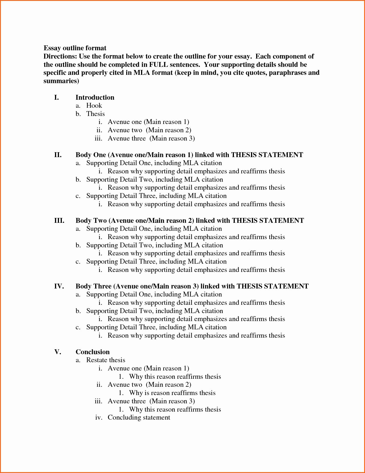 Mla Format Outline Template Beautiful 8 What Is The Mla