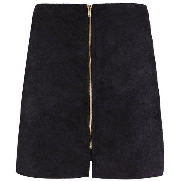 Boohoo Sophia Zip Front Suedette Mini Skirt | Boohoo (£11) ❤ liked on Polyvore featuring skirts, mini skirts, zipper skirt, short skirts, zipper mini skirt, front zip skirt and front zipper skirt