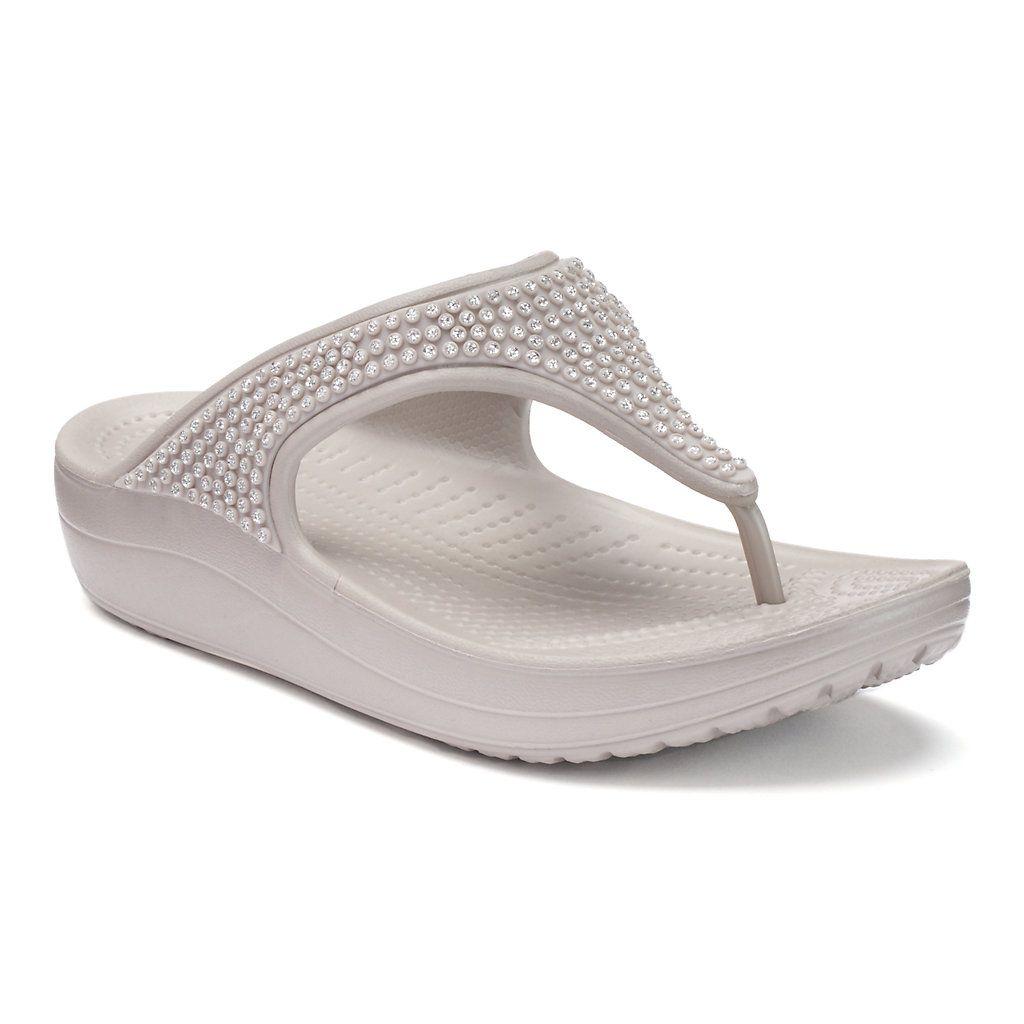 crocs platform flip flops