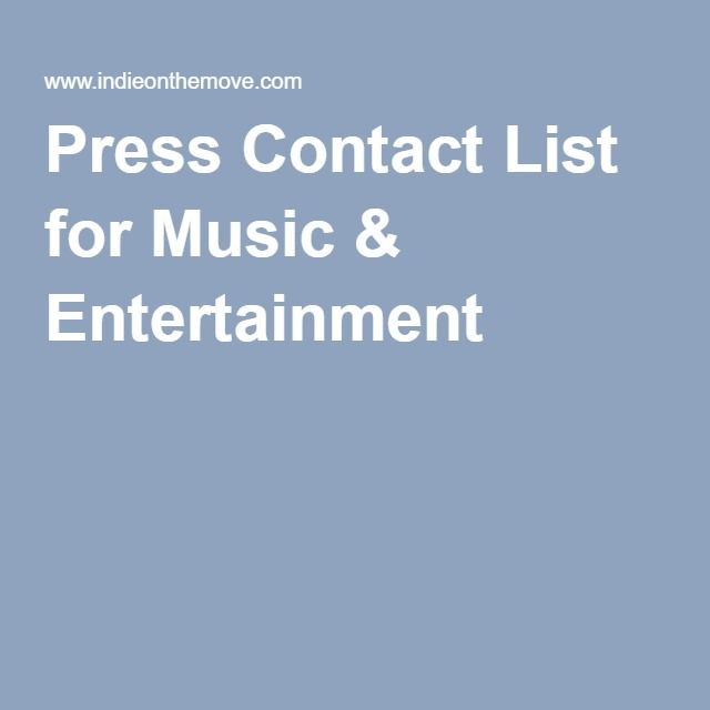 Press Contact List for Music \ Entertainment Recording Studio - contact list