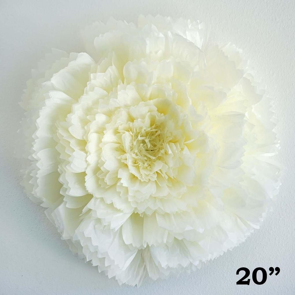 20 Carnation Ivory 3D Wall Flowers Giant Tissue Paper Flowers - Clearance #tissuepaperflowers Your event decoration and wedding decoration can't be completed without flowers. It is amazing how something as simple as flowers can drastically enhance the look of your event. Make your wedding outstanding with our beautiful collection of flowers, peony, flower wall mat, hydrangeas | floral wedding ideas, wedding floral decor, wedding floral inspiration, floral decorations, roses | #flowers #floweri #paperflowercenterpieces