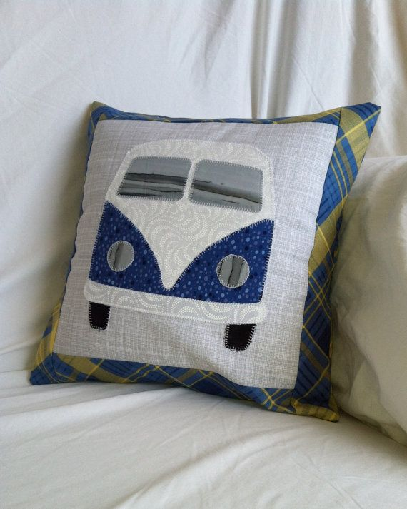 VW Bus Inspired Pillow Cushion Blue Bus on Grey with Blue and Yellow Plaid