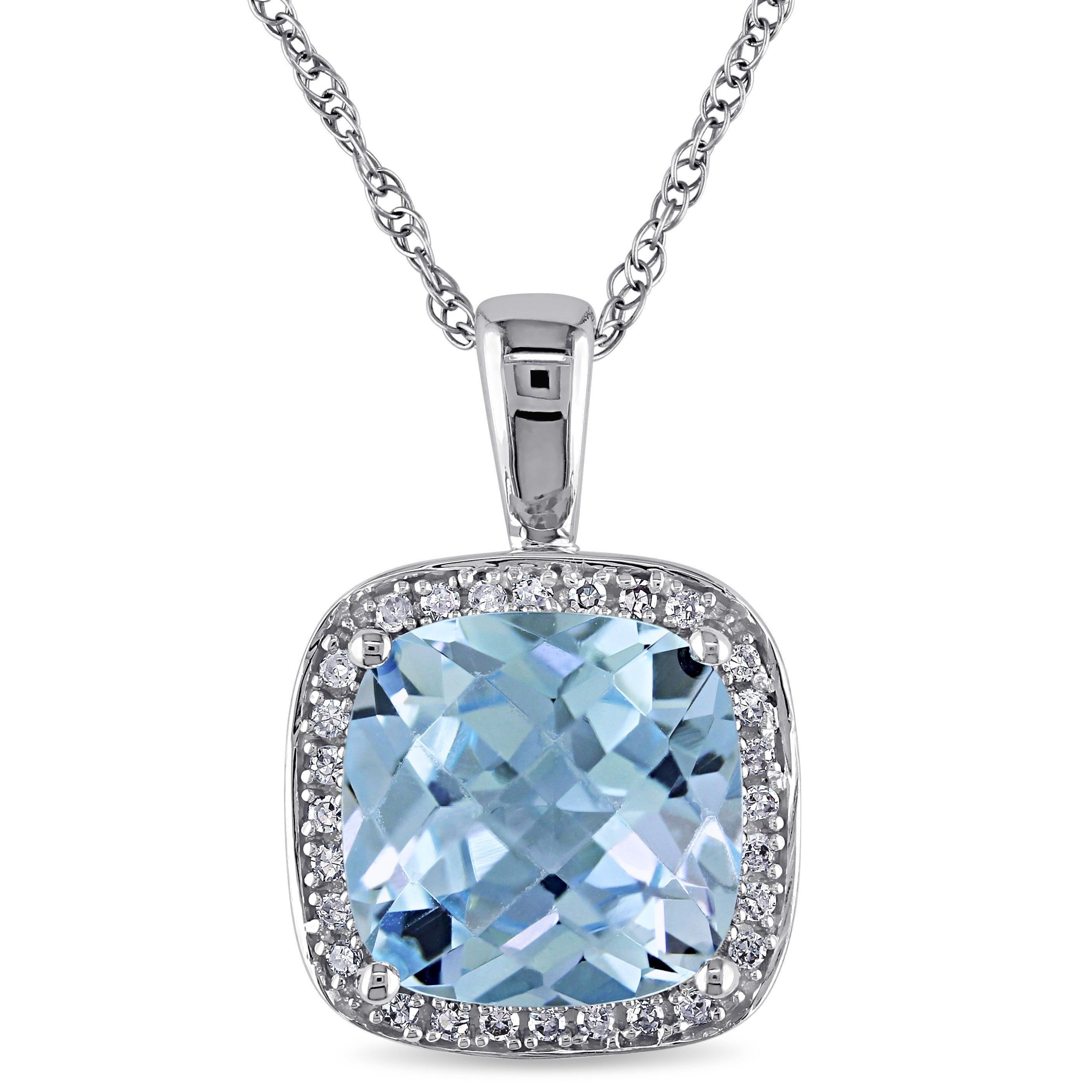 blue gold pin necklace topaz and tdw sky white miadora diamond