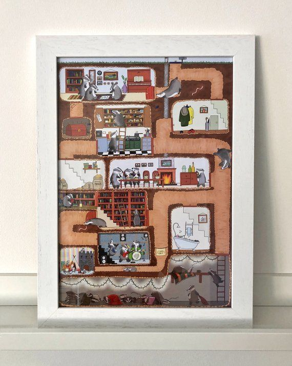 Badger Family Illustration Art Print, A3 Sett Detailed Cosy Illustrated Print, Woodland Animal Wall Art, Huge Homely Underground Drawing is part of Cosy home Illustration - 2l6Zmk6