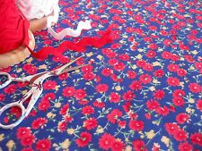 BESSIE - RETRO CHIC RED CARNATIONS ON BLUE POLYCOTTON FABRIC 1M