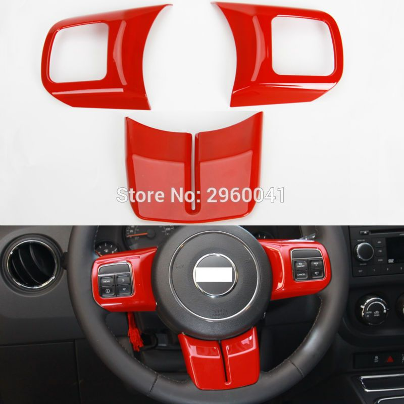 3pcs Interior Red Abs Steering Wheel Cover Trim Sticker Fit For