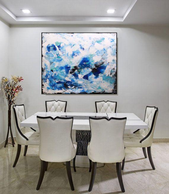 Large Art For Living Room Uk: Large Blue Wall Art Canvas, Original Modern Art Abstract