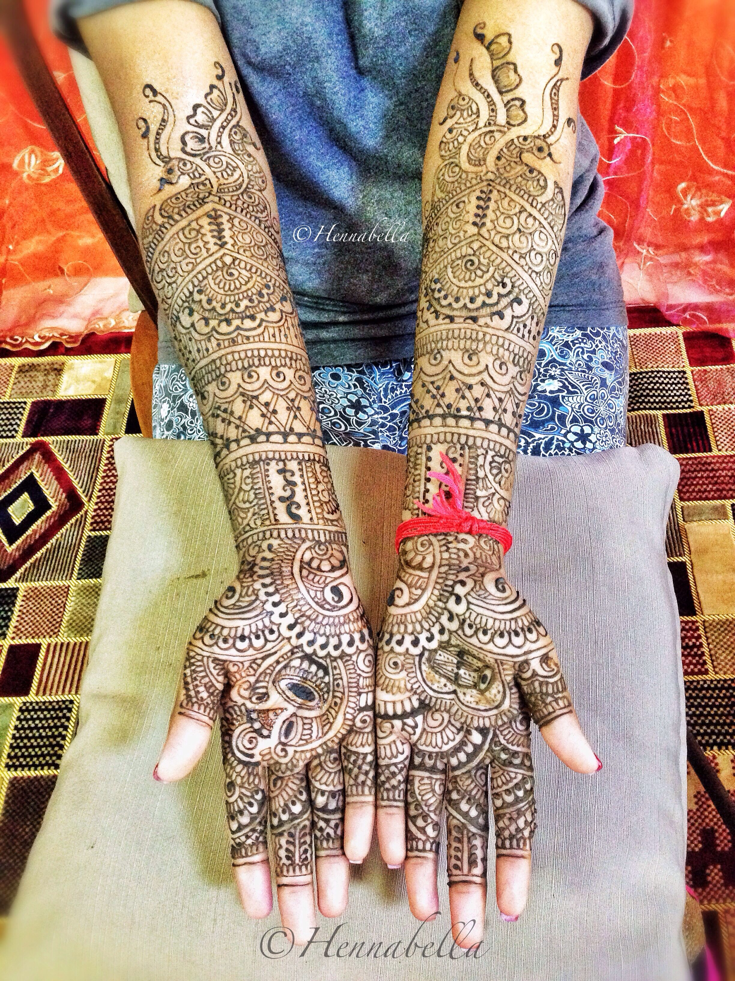 Intricate South Indian Bridal Henna design for a bride from a musical family. Spot the traditional Indian musical instruments. <3