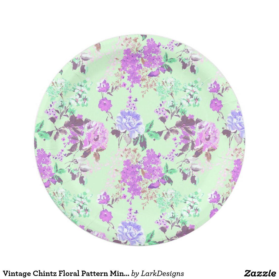 Vintage Chintz Floral Pattern Mint Green Purple Paper Plate  sc 1 st  Pinterest & Chintz Floral Pattern Mint Green Purple Paper Plate