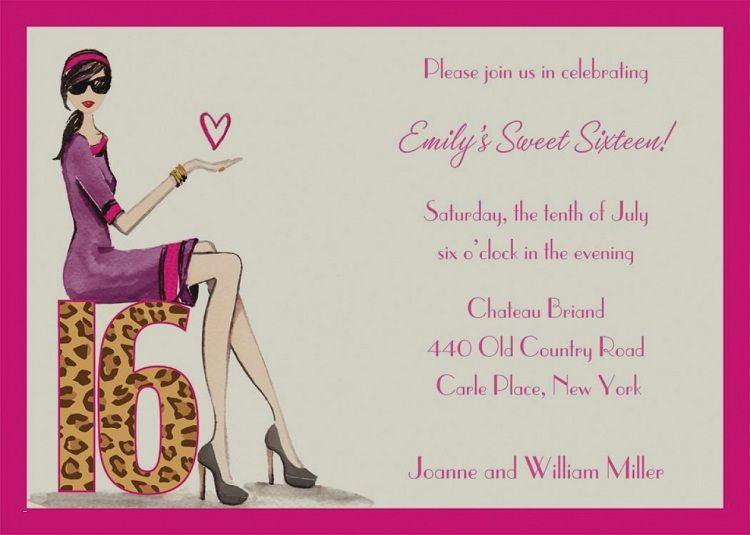 Sweet 16th Birthday Invitations Wording