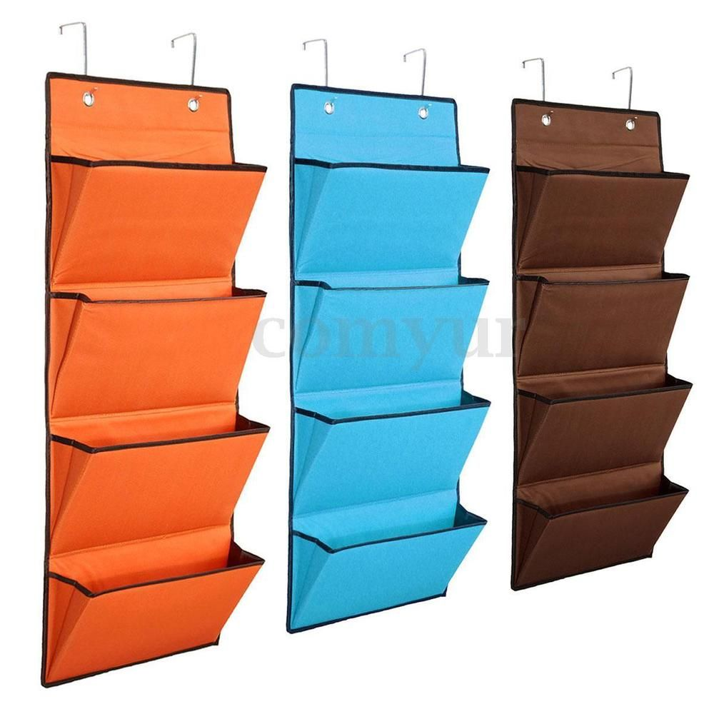 Uk 4 Tier Over Door Hanginghook Storage Pocket Clothes Wardrobe