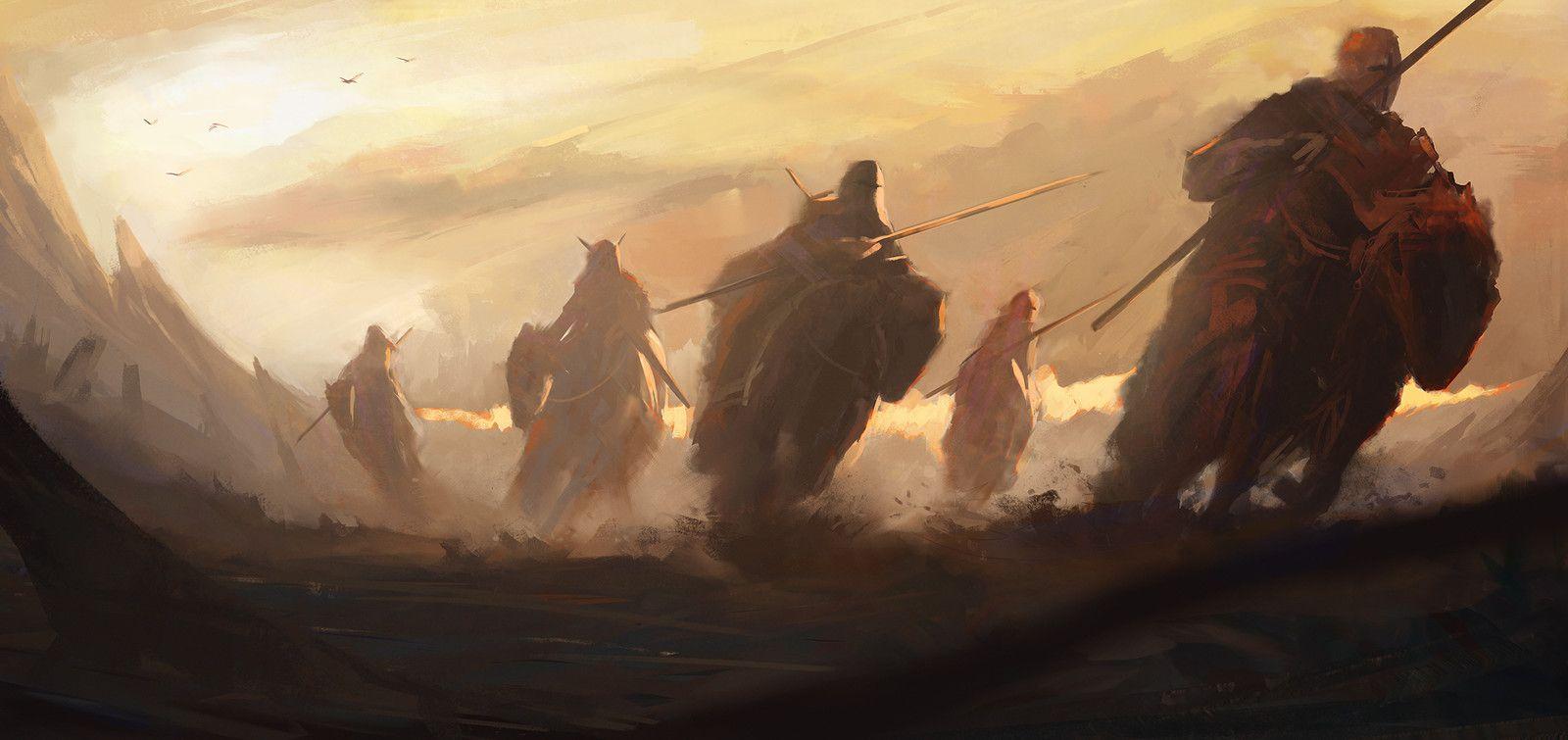 Desert knights sketch, Nikolay Moskvin on ArtStation at https://www.artstation.com/artwork/Wzq2Q