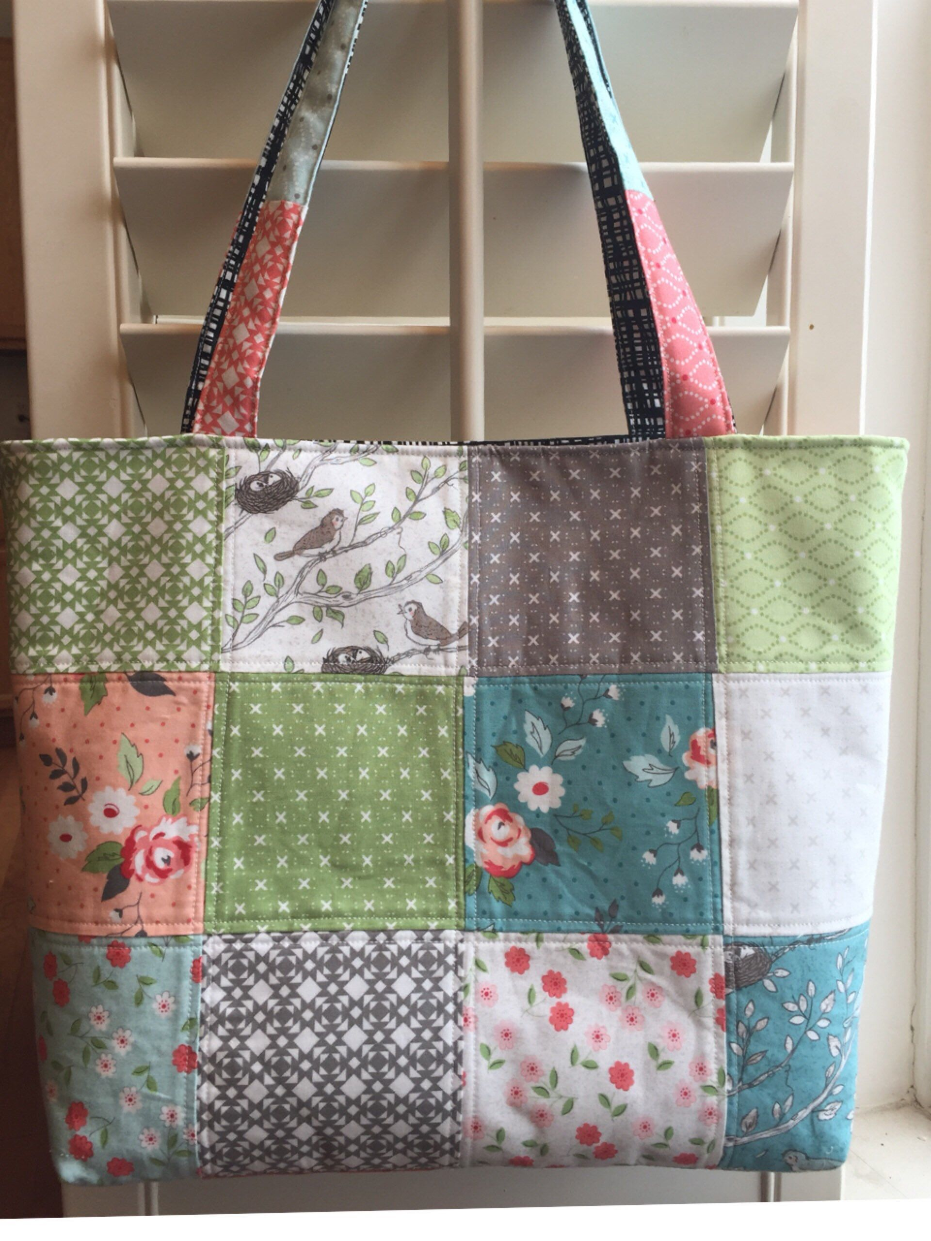 Summer Quilted tote bag ,Handmade quilting tote bag,shoulder bag,womens handbag, Gift for her,teacher, Mom