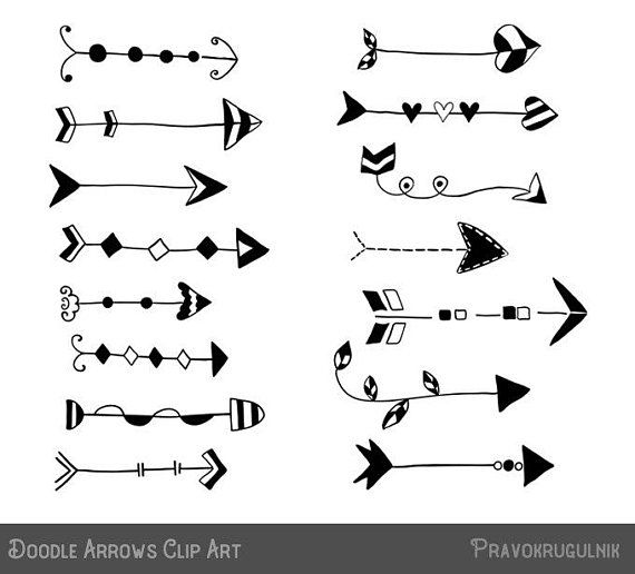 Rustic Arrow Clipart Doodle Set Hand Drawn Clip Art Unique