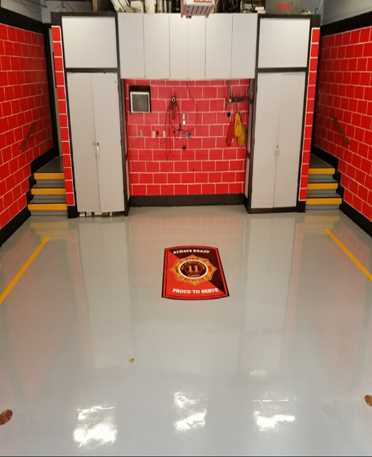 This Fire Station Floor Was Recently Completed With Our 3 Coat High Build System 2 Coats Of Pc 1703 100 Concrete Floor Coatings Concrete Floors Floor Coating