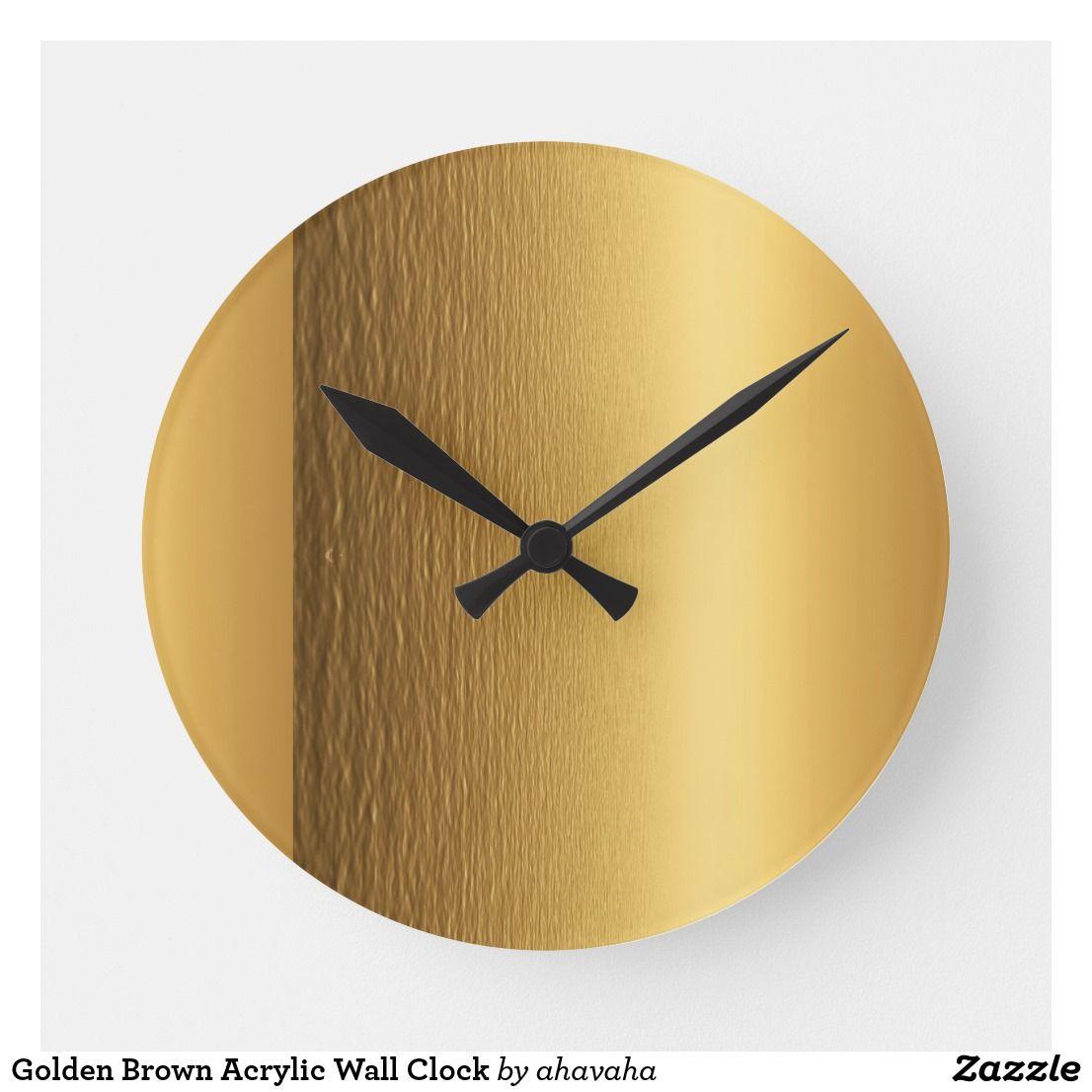 Golden Brown Acrylic Wall Clock Wall Clock Clock Brown Wall Clocks
