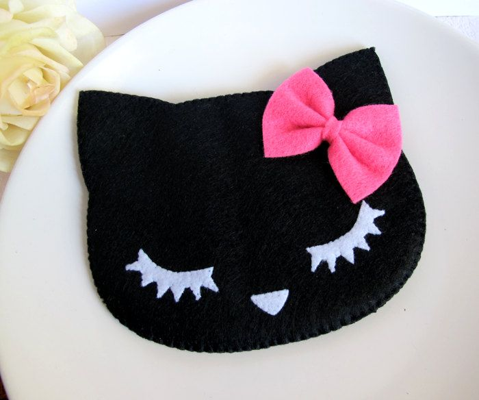 Black Summer Neko Cat with Ribbon Bow iPhone Cell Phone Digital Camera Case