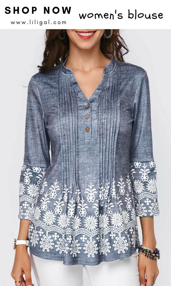 2281361c840 USD33.95 Printed Split Neck Button Detail Pleated Blouse  liligal  blouse   tshirt