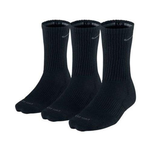 Nike Mens DriFit Cushioned Crew Socks 3 Pack Black XL Shoe ...