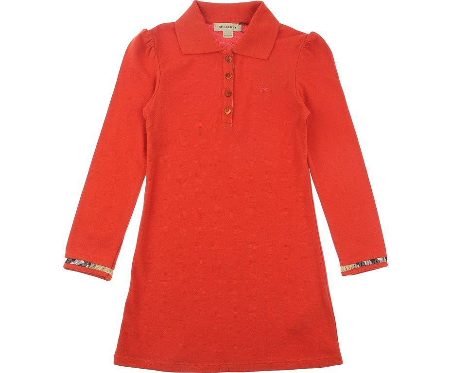 Burberry Junior Girls Dark Orange Pique Polo Dress With Check Trims