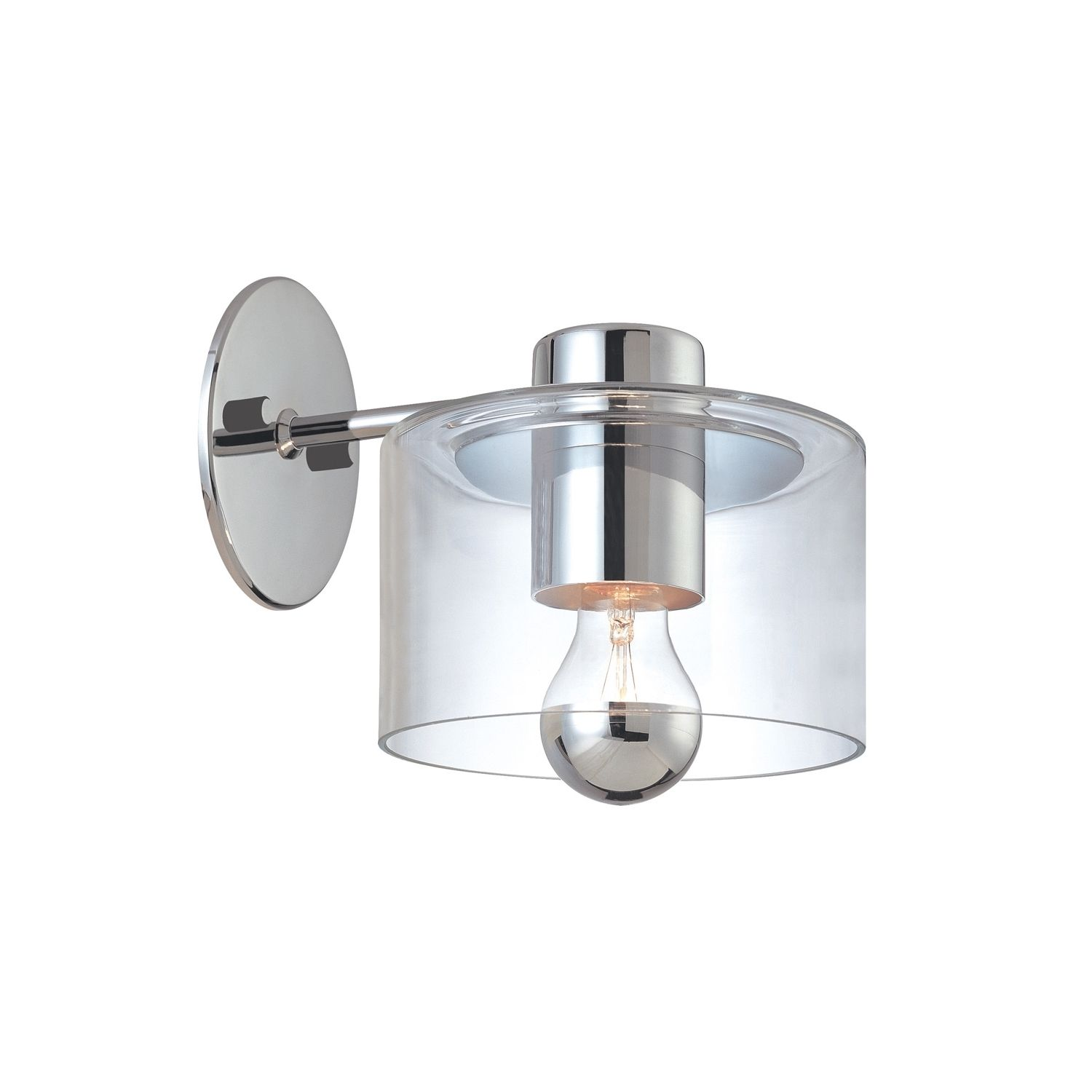 Transparence 1-Light Wall Sconce Extension comes in a polished chrome finish with a clear glass shade.
