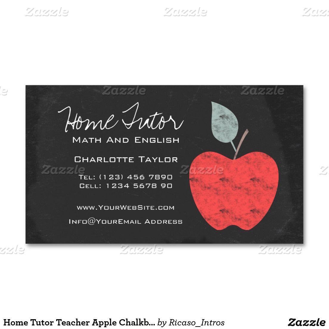 Home Tutor Teacher Apple Chalkboard Business Card Zazzle Com In 2021 Substitute Teacher Business Cards Teacher Business Cards Home Tutors