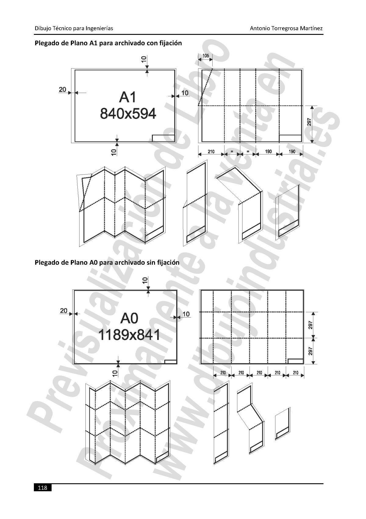 plegado de papel en dibujo tecnico