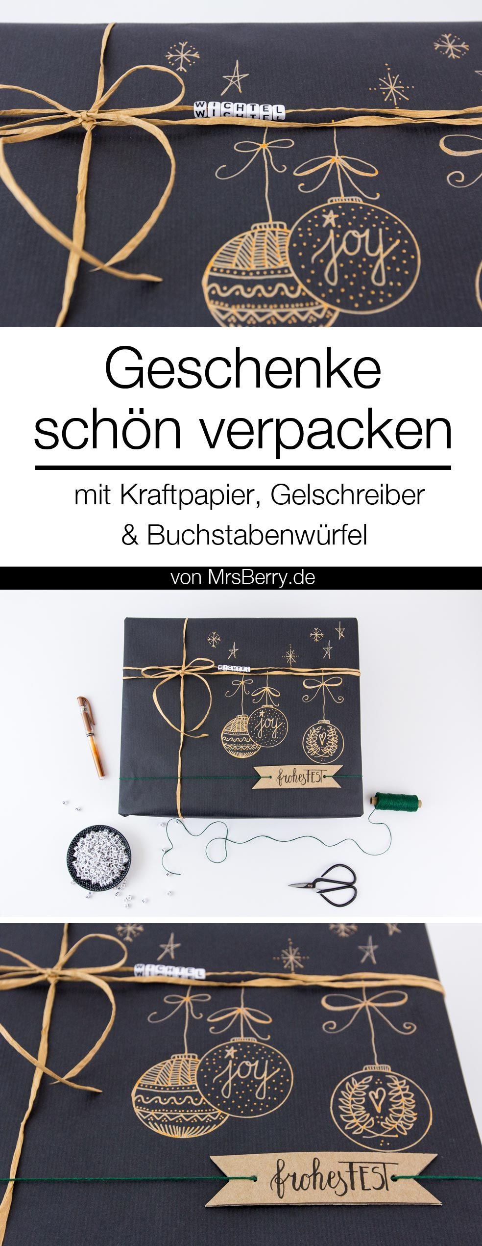 geschenke sch n verpacken mit kraftpapier wraps and gold pen. Black Bedroom Furniture Sets. Home Design Ideas
