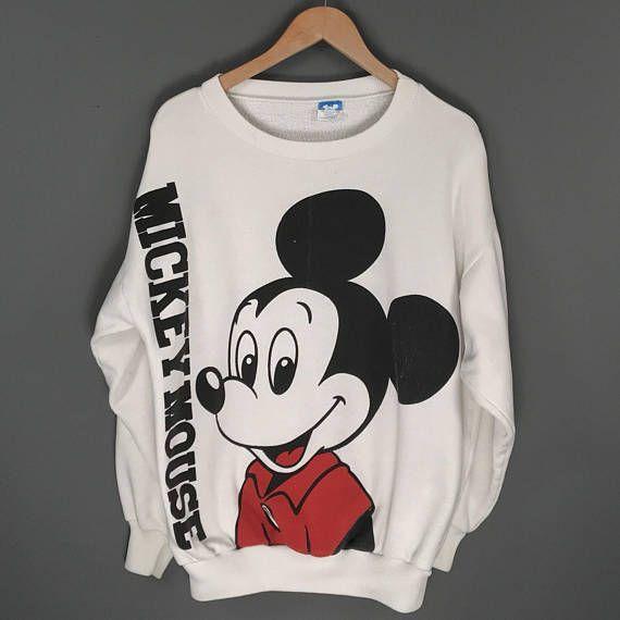 Vintage 90s Mickey Mouse Cartoon Characters Disney Sweatshirts Large Size RDXu1lXYM