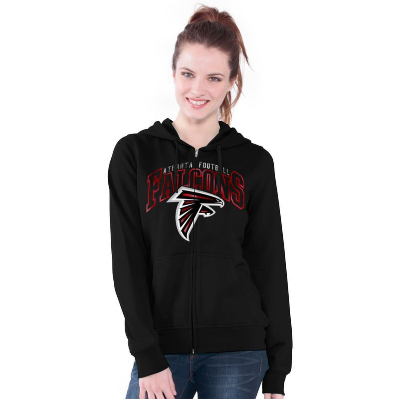 Atlanta Falcons G-III 4Her by Carl Banks Women s Wildcat Arched Full-Zip  Hoodie - Black 8a388ff22
