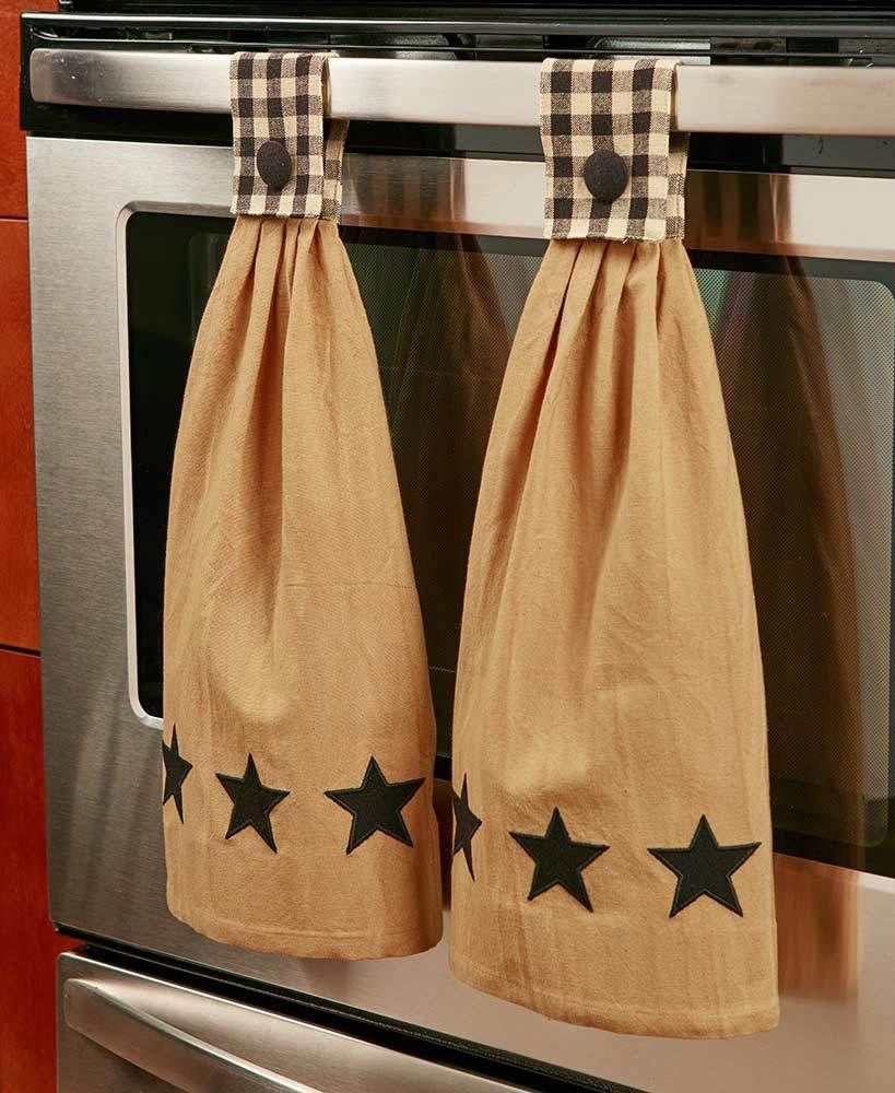 Black Country Star Themed Hanging Kitchen Towel Set Of 2 Cotton Button Closure Kitchenthemes Kitchen Towels Hanging Kitchen Towel Set Kitchen Towels