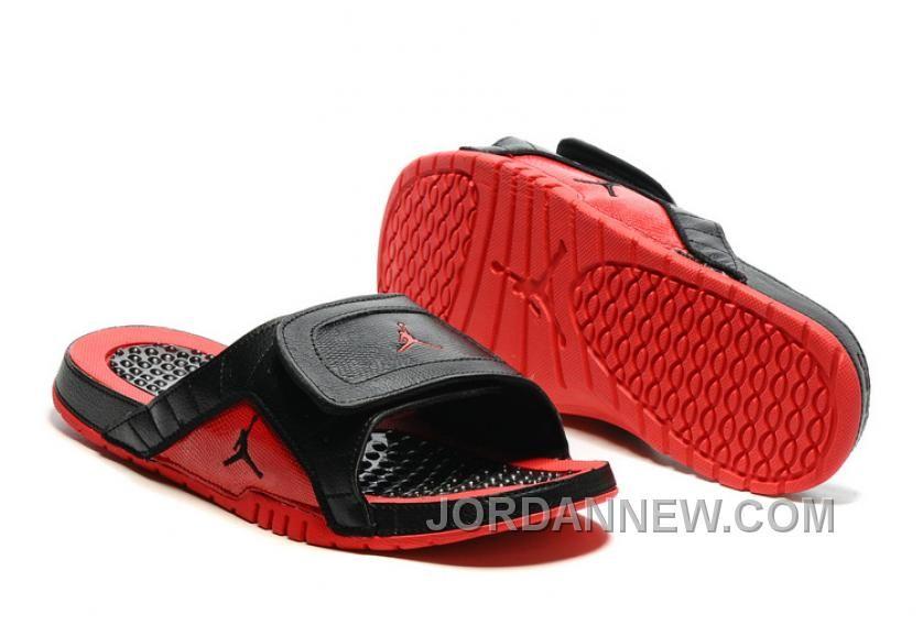ca68174f493891 2017 Mens Jordan Hydro 12 Slide Sandals Black Red Discount