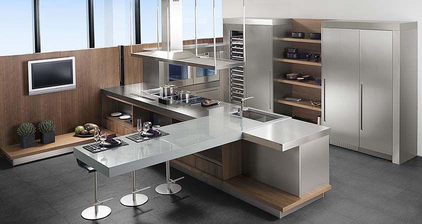 Muebles de cocina. G-680 acabado Nogal Siena / Acero Antihuellas ...